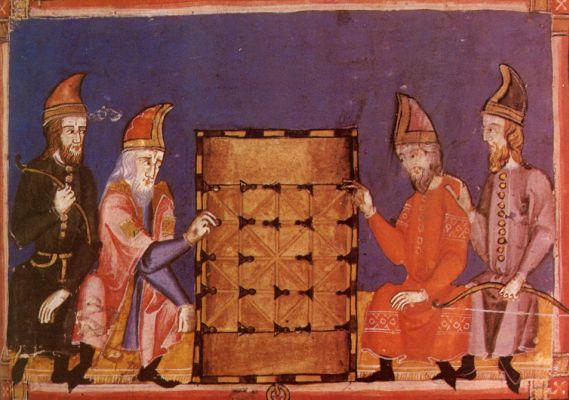 Männer spielen Alquerque