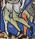 Beinlinge über einer Bruech (Detail aus der Kreuzfahrerbibel, Folium 35)