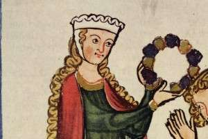 Eine Frau mit einem Gebende (Kopfbedeckung) - Darstellung aus dem Codex Manesse