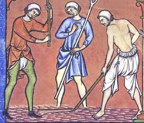 Bauern bei der Arbeit (Darstellung aus der Kreuzfahrerbibel)