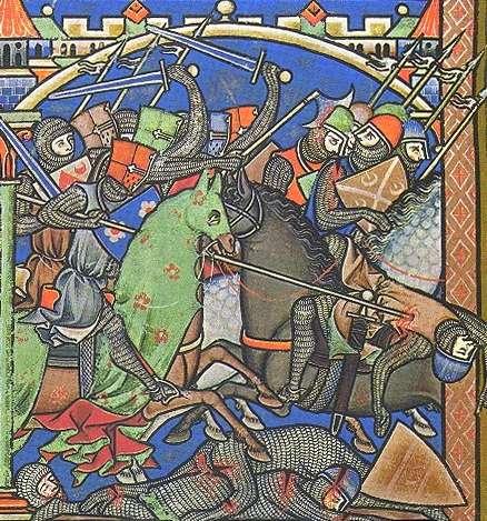 Schlachtszene aus der Kreuzfahrerbibel