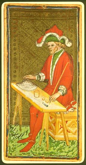 Ein Magier auf einer Tarotkarte aus dem 15. Jahrhundert