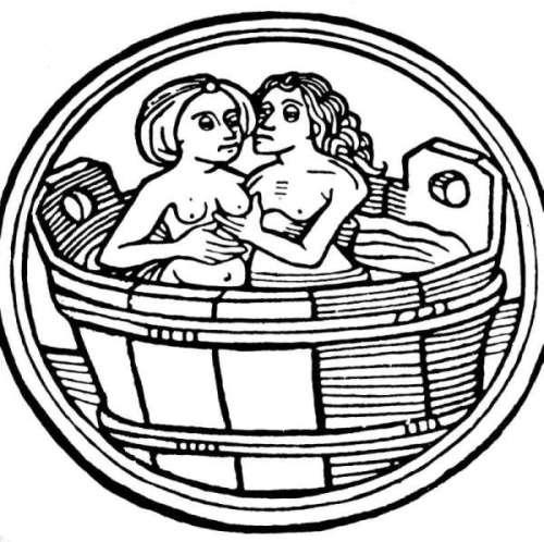Eine mittelalterliche Badeszene mit Frau und Mann.
