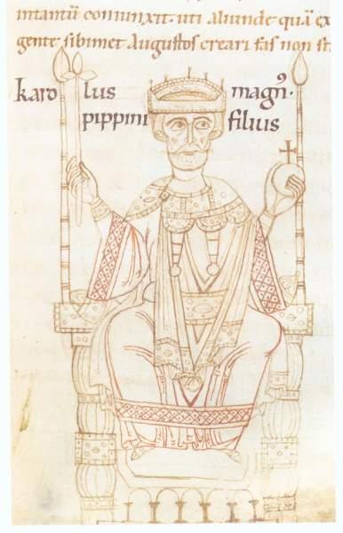 Karl der Große auf einer Abbildung in der chronik des Ekkehard von Aura