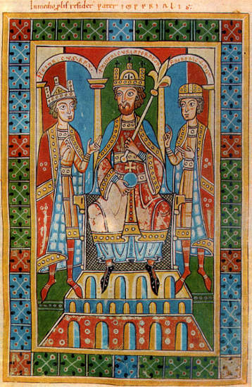 Friedrich Barbarossa mit seinen Söhnen