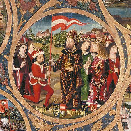 Herzog Leopold V. von Österreich erhält von Kaiser Heinrich das rot-weiß-rote Banner