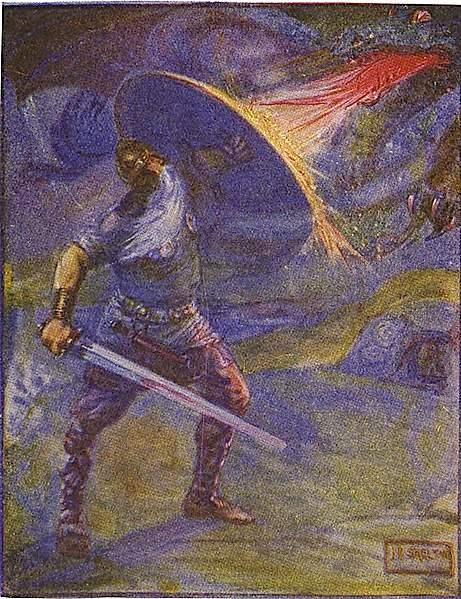 Beowulf stellt sich dem Drachen, der ihn und sein Volk bedroht