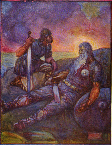 Wiglaf und der schwer verwundete Beowulf nach ihrem gemeinsamen Kampf gegen den Drachen