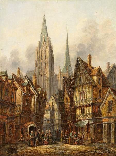 Künstlerische Darstellung einer mittelalterlichen Stadt - Dommersen, 19. Jahrhundert