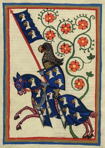 Typische Abbildung eines Ritters aus dem Codex Manesse