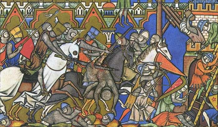 Schlachtszene aus der Kreuzfahrerbibel (Folium 10)
